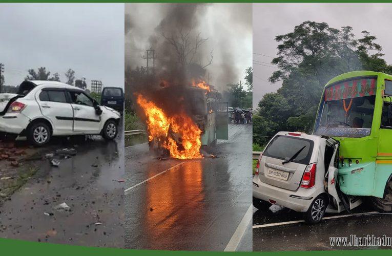 दो सड़क हादसों में आठ लोगों की मौत, कहीं चलती बस में तो कहीं डिवाइडर से टकराई कार..